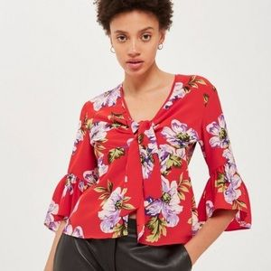 """TOPSHOP Red Floral Bell Sleeve """"Felicity"""" Blouse"""